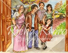 This kids book illustration is a fun illustration showing an Indian family. The characters are made in semi realistic style and the medium of color used is water color with a little use of the pencil color to give it a clear finish. The mood of all the characters is light and they are all smiling. A little background has been made with trees in the and some bushes.A taxi has also been shown.The structure of house is very much Asian in appearance and the outfit of all characters is western…