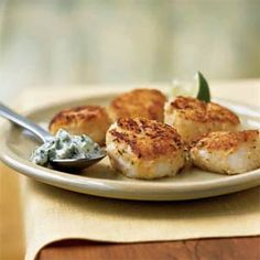Pan-Seared Scallops with Cilantro-Celery Mayonnaise | MyRecipes.com