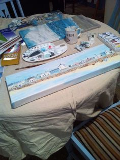 Painting a seaside village to hang in our beach apartment! Perfect therapy with having all I have been through this last year! Nothing like being near the sea to help one feel better.