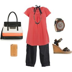 Comfy Travel Outfit Summer - Tangerine & Black - Plus Size Fashion Cute Travel Outfits, Comfy Travel Outfit, Travel Outfit Summer, Summer Outfits, Cute Outfits, Comfy Outfit, Big Girl Fashion, Curvy Fashion, Love Fashion