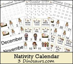 Free Nativity Calendar Cards - 3Dinosaurs.com