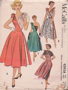 McCall's 9393 Vintage 50's Sewing Pattern The Most INCREDIBLE Rockabilly Wrap Around or One Slung Shoulder Party Dress IN THE WORLD! :D