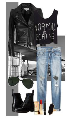 """""""Normal people scare me"""" by heart4style ❤ liked on Polyvore featuring IRO, rag & bone, Dr. Martens, Ray-Ban, Jaeger and Yves Saint Laurent"""