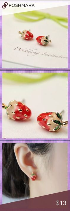 ADORABLE Red Strawberry Stud Earrings It doesn't get any cuter than these! Now is the time to be wearing these ADORABLE Pierced Earrings! 10K Yellow Gold Filled! These are so cute, I have been wearing a pair daily in my second ear piercing!PRICE IS FIRM Boutique Jewelry Earrings