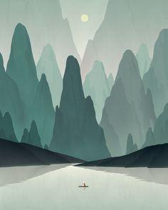Chinese Landscape by Dadu Shin  Sweet, clean lines.  Yay, Illustrator!  #Illustration #Art #Print #Inspiration