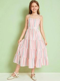 To find out about the Girls Tiered Layer Striped Dress at SHEIN, part of our latest Girls Dresses ready to shop online today! Girls Dresses Online, Kids Outfits Girls, Little Girl Dresses, Girl Outfits, Girls Fashion Clothes, Girl Fashion, Fashion Outfits, Frock Fashion, Kids Clothing