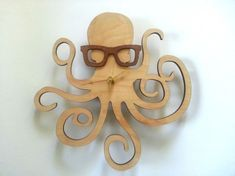 octopus with glasses wall clock, by UnpossibleCuts on Etsy