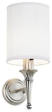 bathroom sconces brushed nickel | ... Brushed Nickel Finish Plug-in Sconce - contemporary - wall sconces
