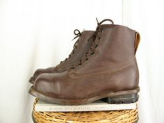 Sz-12-VARNAMO-Swedish-Vintage-1967-Military-Brown-Leather-Snow-Boots-MENS-Shoes
