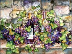 Ceramic Tile Mural - Wine Cellar - by Kathleen Parr McKenna - Kitchen backsplash / Bathroom shower