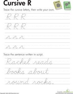 """Practice cursive letters A-Z with our cursive handwriting worksheets. From A to the mysterious cursive Z, kids get the extra guidance they need to master their letters. Download individually or the whole set at once. These are handy for giving kids a quick reminder on tricky letters. For more practice, check out our other <a href=""""http://www.education.com/worksheets/cursive/""""> cursive worksheets</a>."""
