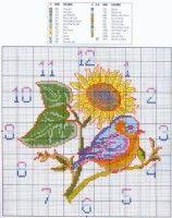 Gallery.ru / Фото #56 - часы - evo4ka1502 Cross Stitch Needles, Cross Stitch Bird, Cross Stitch Charts, Cross Stitch Designs, Cross Stitching, Cross Stitch Patterns, Learn Embroidery, Cross Stitch Embroidery, Loom Patterns
