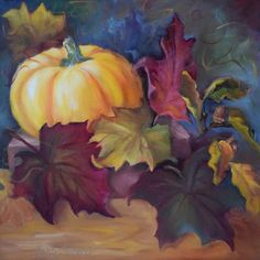 Autumn Still Life I,Pumpkin, Leaves,Canvas, Original Oil Painting by Cheri Wollenberg by OilPaintingsByCheri on Etsy