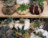 Fabric Pumpkins with Wood Stems and Silk Leaves by tdpearce on Etsy, $6.00 USD