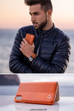 """The Whiskey Brown Bovine case for the iPhone is our most eye-catching leather case. As the name suggests its made with a beautiful """"Whiskey""""-like brown leather finish. Older Mens Fashion, Apple Watch Fashion, Iphone 7, Iphone Cases, Elegant Man, Iphone Leather Case, Fashion Watches, Men's Fashion, Mobile Accessories"""