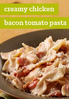 Creamy Chicken, Bacon & Tomato Pasta – This creamy, cheesy chicken breast and pasta dish is even better with tomato and bacon. (Bonus: It only takes 20 minutes to make, start to finish.)