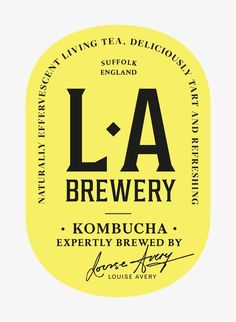 LA Brewery makes the kombucha of our dreams with a little help from Here Design. Logo Branding, 2 Logo, Branding Design, Design Packaging, Typo Design, Coffee Packaging, Bottle Packaging, Packaging Ideas, Food Packaging