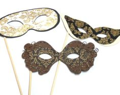 Masquerade Party Photo booth Props Set 19 Piece by TheQuirkyQuail