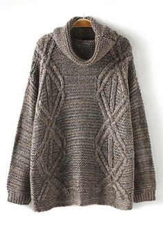 Grey Plain Round Neck Embroidery Wool Blend Sweater