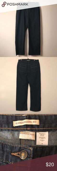 Covington Slenderizing Fit Jeans Covington Slenderizing Fit dark blue jeans - like new! Feel free to ask any questions! Sorry, no trades. Covington Jeans Boot Cut