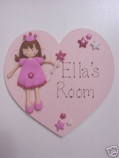 Personalised new baby plaque personalised baby girl gift and handmade fairy heart name door plaque girls gift negle Images