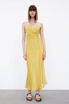 BUTTONED SLIP DRESS - Mustard | ZARA United States Vestidos Zara, Fabric Covered Button, Lingerie, Neck Wrap, Button Dress, Zara Dresses, Zara Women, Camisole, Wrap Dress