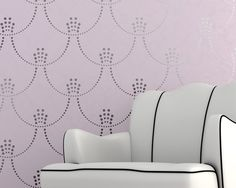 Modern Deco Pearls Damask Wall Stencil for a Regal Hollywood Glamour Feel. $59.00, via Etsy.