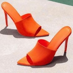 7955f58e5d1 Details about Cape Robbin CECE Royal Suede Slip-On Mules Pointy Open Toe Stiletto  Heels. Hot High HeelsOrange ...