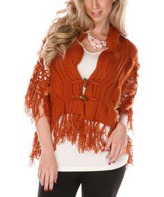 Rust Fringe Wool-Blend Cardigan by Lily #zulily #zulilyfinds