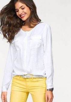 AJC Satinbluse, mit Rundhalsausschnitt ab 13,99€. AJC Bluse mit fließendem Fall und leichtem Crinkle Effekt, Mit aufgesetzten Brusttaschen bei OTTO