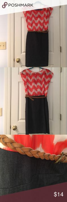Orange Chevron and Denim Dress Cap sleeve thin material over built-in white cami. Bottom fits like a pencil skirt with soft stretchy denim-looking fabric. Hits about top of the knee. Zip closure in back. Tan braided belt included. AGB Dress Dresses