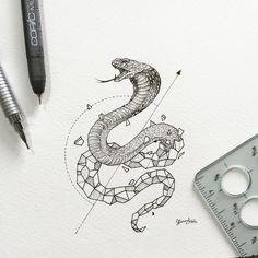Idée tatouage, à mi chemin entre le tatouage d'un cobra et le tatouage géométrique.