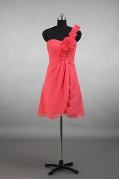 One Shoulder Coral Bridesmaid Dress, A-line Short Chiffon Bridesmaid Dress With Shoulder Flowers on Etsy