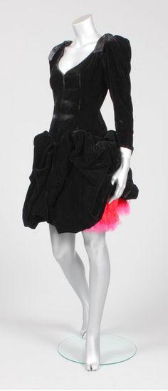 Yves Saint Laurent black velvet and shocking pink tulle cocktail dress, mid 1980s