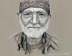 Prismacolor pencil sketch of Willie Nelson on toned gray 11 x 14 Strathmore paper.