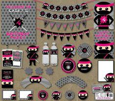 Cute PINK NINJA PRINTABLES from this Pink Ninja themed birthday party with Really Cute Ideas via Kara's Party Ideas Kara Allen KarasPartyIdeas.com #ninjaparty #girlyninja #ninja...