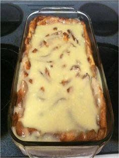 Ingredients • 4 cups (8 slices) cubed white bread • 1/2 cup raisins • 2 cups milk • 1/4 cup butter • 1/2 cup sugar • 2 eggs, slightly beaten • 1 tablespoon vanilla • 1/2 teaspoon ground nutmeg Sauce: • 1/2 cup butter • 1/2