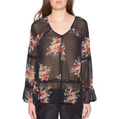Women's Willow & Clay Floral Print Blouse ($79) ❤ liked on Polyvore featuring tops, blouses, black, transparent blouse, see through tops, sheer floral top, floral print tops and floral print blouse