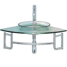 The Ordinato is a corner mount vanity that is modern in style but classic in idea. Easy construction of chrome and clear glass lets this basin fit into any decor without sacrificing a touch a pizzazz.