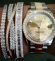 Diamonds!! Rolex Date Just in Oyster and Diamond Bezel with Diamond face, Stainless steel and Gold