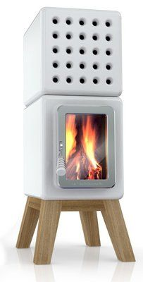 Some sort of awesome ceramic and wood freestanding fireplace.