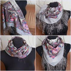 Russian Pavlovsky Posad shawl Gray paisley