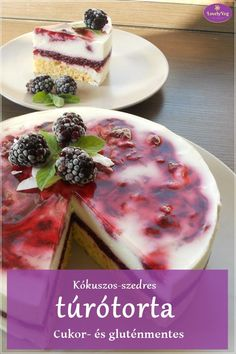 Kókuszos-szedres túrótorta - LovelyVeg Diabetic Recipes, Gluten Free Recipes, Diet Recipes, Cake Recipes, Dessert Recipes, Healthy Recipes, Hungarian Recipes, Cakes And More, Healthy Desserts