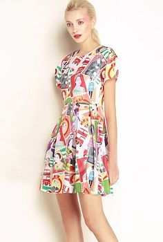 Red Puff Short Sleee Head Stamps Print Skater Dress