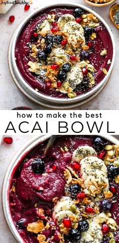 Superfood Recipes, Easy Smoothie Recipes, Blender Recipes, Acai Bowl Recipe Video, Homemade Acai Bowl, Healthy Breakfast Smoothies, Food Garnishes, Breakfast Dishes, Healthy Juices