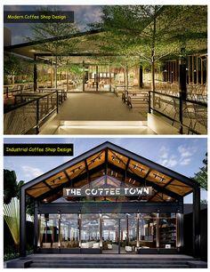Industrial Coffee Shop, Industrial Cafe, Industrial Restaurant, Outdoor Restaurant Design, Deco Restaurant, Modern Restaurant, Cafe Shop Design, Coffee Shop Interior Design, Restaurant Exterior Design