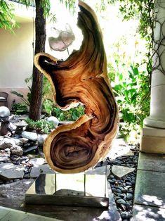 Chamcha Wood, Quartz, Lights, Steel Sculpture by Dorit Schwartz