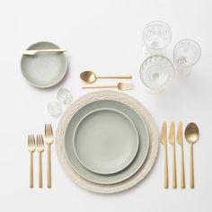 White Lace Charger + Heath Ceramics in Mist Dinnerware + 24k Rondo Flatware in Gold + Crystal Antique Salt Cellars + Vintage Clear Goblets | Casa de Perrin Design Presentation
