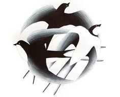 Bird illustration, swallow watercolor painting, black original, circle wall art decor, A3 by VApinx on Etsy, $100.41 CAD