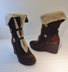 "Coach Gena Brown Suede Shearling Lined 3.5"" Wedge Heel Winter Boots Womens 8.5 M #Coach #SnowWinter #Winter"